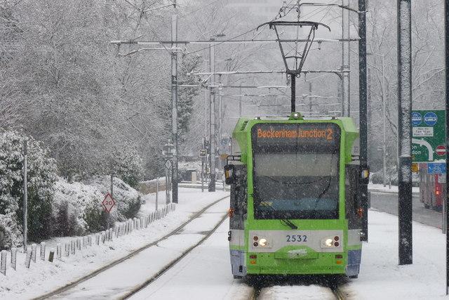 Croydon Trams in the Snow (4)