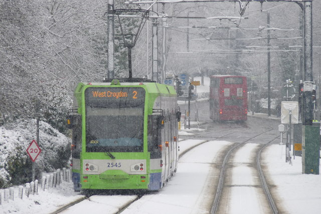 Croydon Trams in the Snow (6)