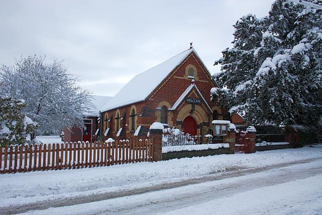 Upper Welland Methodist Chapel in the snow