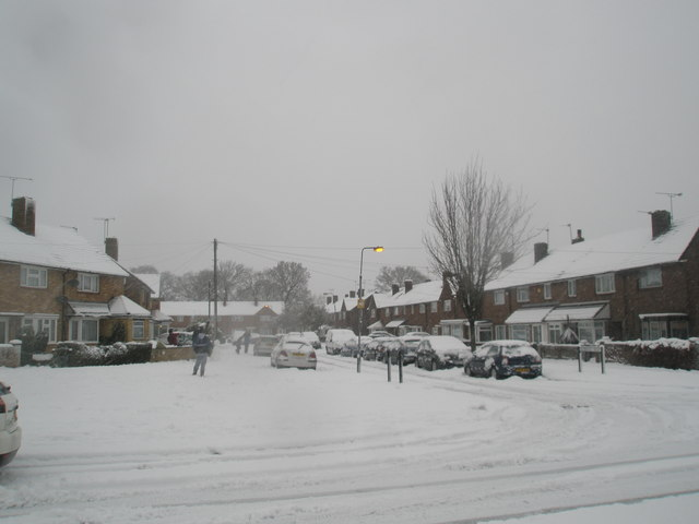 Looking from Hazleholt Drive into a snowy Redbridge Grove
