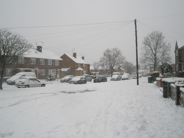 A snowy pavement in Hazleholt Drive