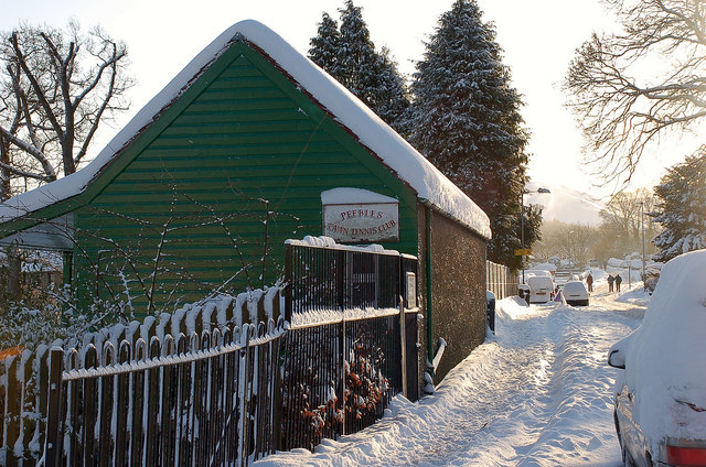 Peebles Tennis Pavilion on a winter morning