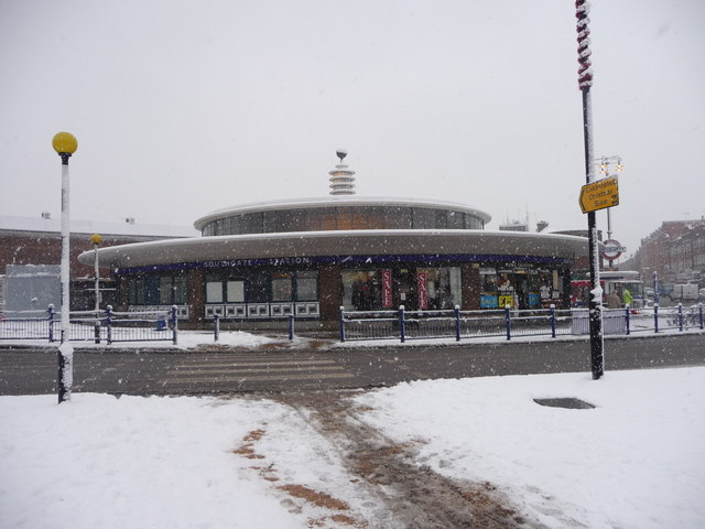 Southgate Station in the snow