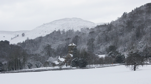 Little Malvern Priory in the snow