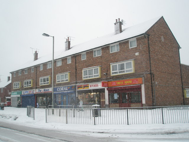 Barncroft Shops on a snowy January morning