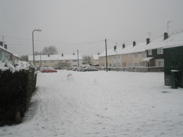 A snowy scene in Priorsdean Crescent