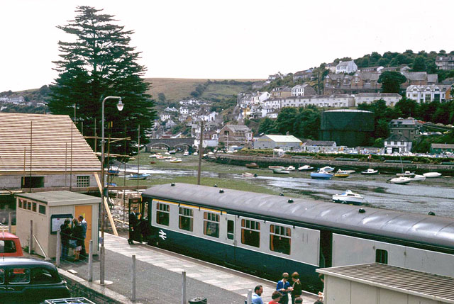 Looe station and harbour, 1979