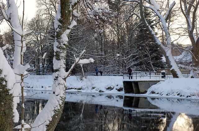 Snow scene in Hay Lodge Park, Peebles