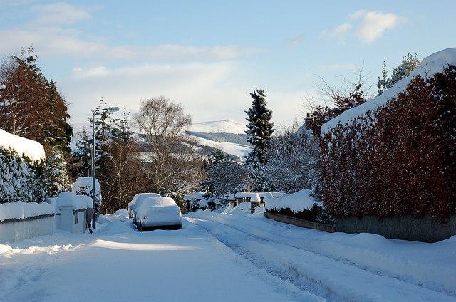 Winter snow at The Mount, Peebles