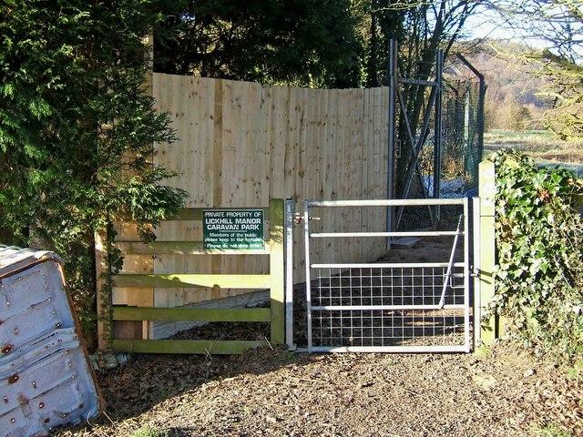Severn Way at entrance to Lickhill Manor Caravan Park