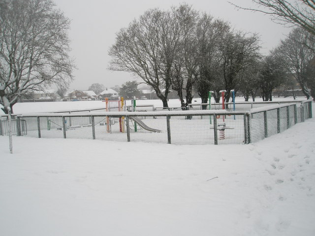A snowy playpark in Stockheath Lane