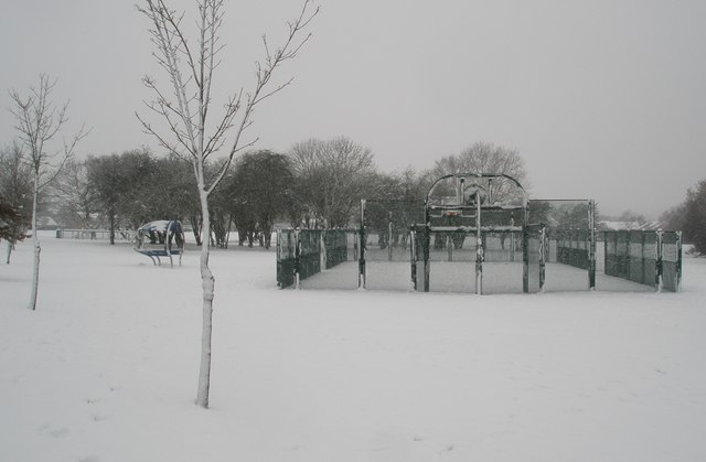 A snowy games court in Stockheath Lane