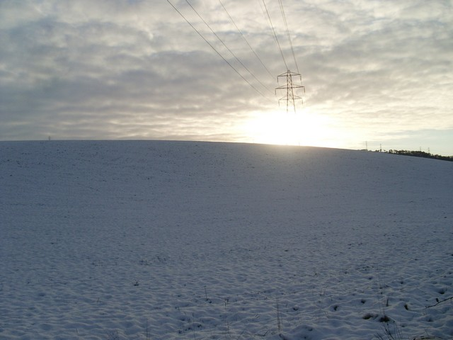 Power lines cross the hills near Foxbar