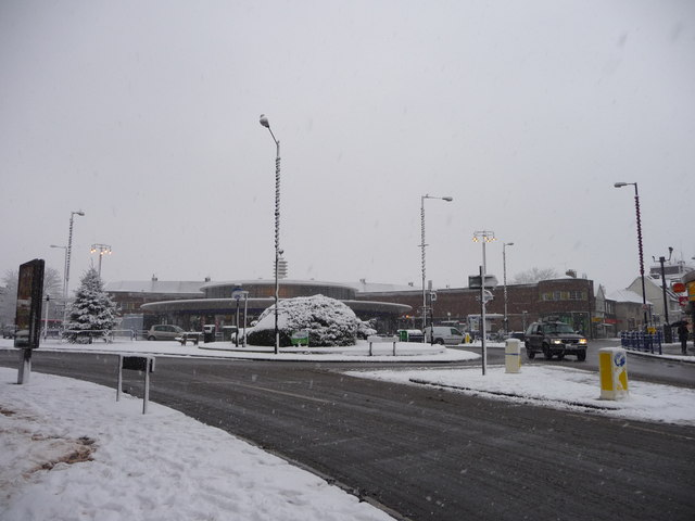 Southgate Circus in the snow