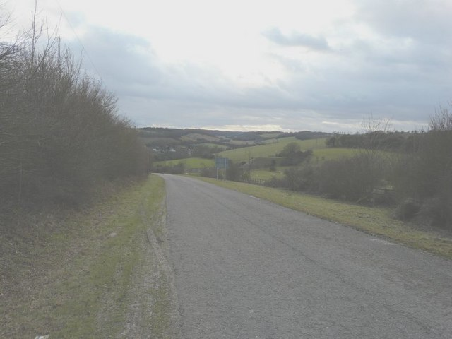 Looking down Coldred Hill towards Lydden