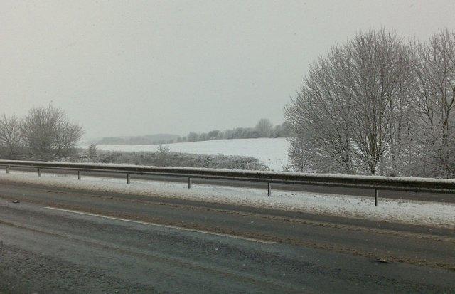 Snowy field near Beacon Hill