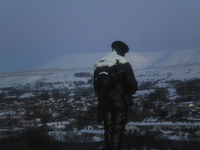 Soldier in the fading light, Clitheroe.