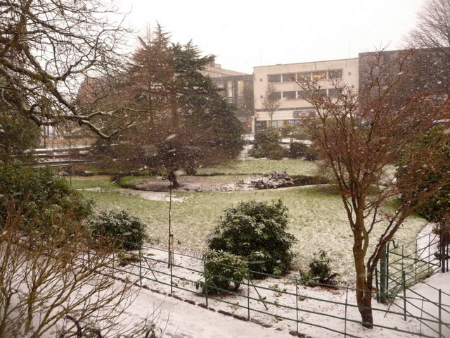 Bournemouth: snowing on the Central Gardens