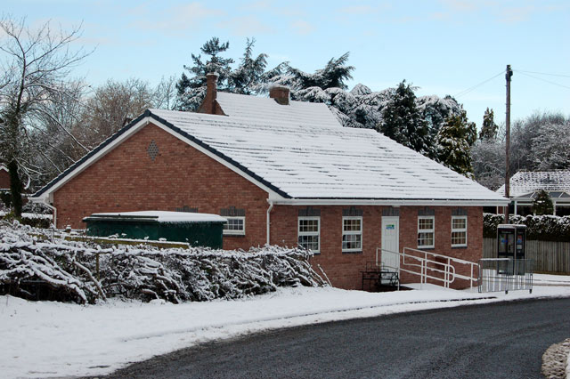 Broadwell village hall in the snow