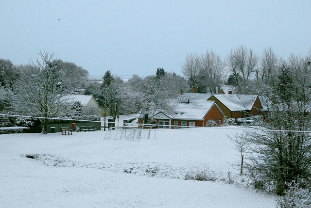 Broadwell village green in the snow