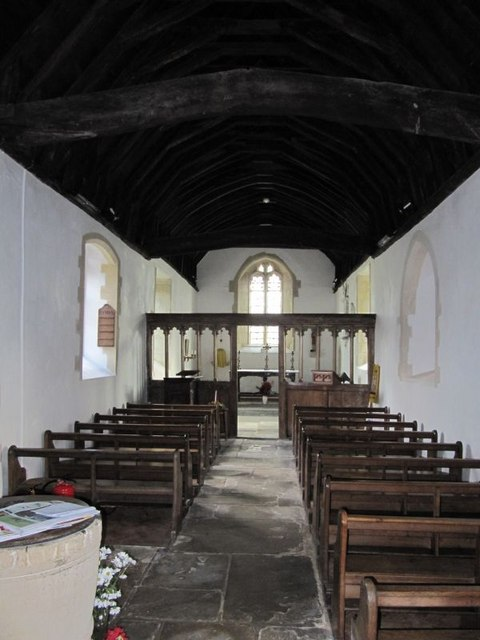 Looking down the church
