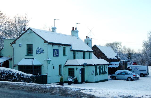 A snowy day at the Boat Inn, Stockton