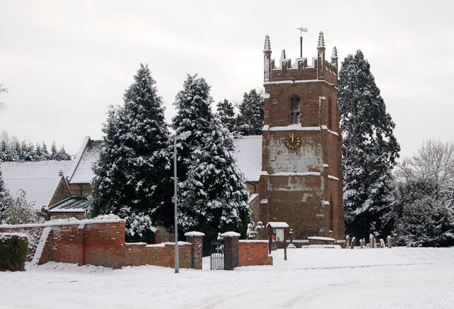 St Michael's church in the snow, Stockton