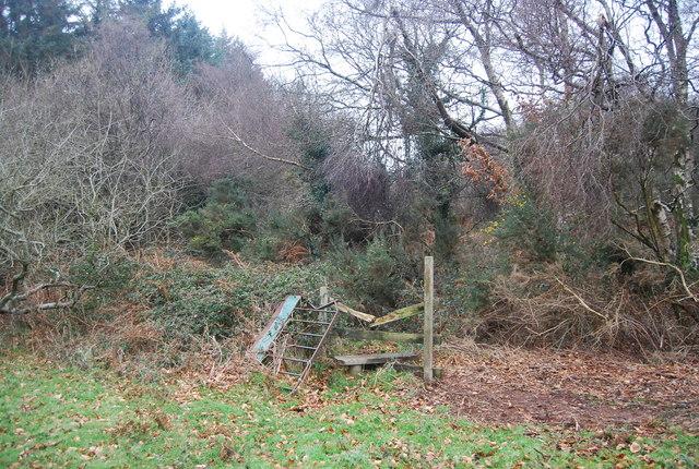 Broken stile on the edge of Aller Hill