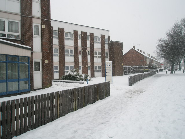 Snowy scene at Tweed Court in Dunsbury Way