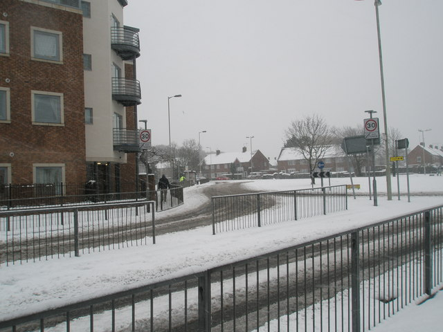 Looking from Dunsbury Way towards Stockheath Road