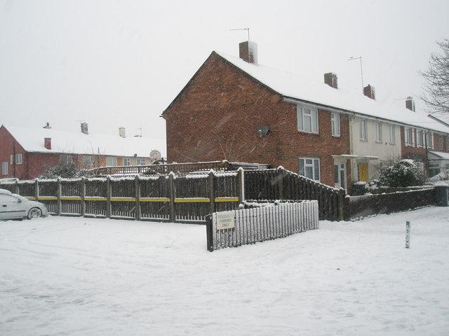 A snowy scene in Dunsbury Way