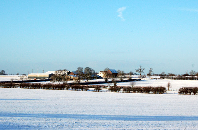 Snowy fields at Pike Hall Farm