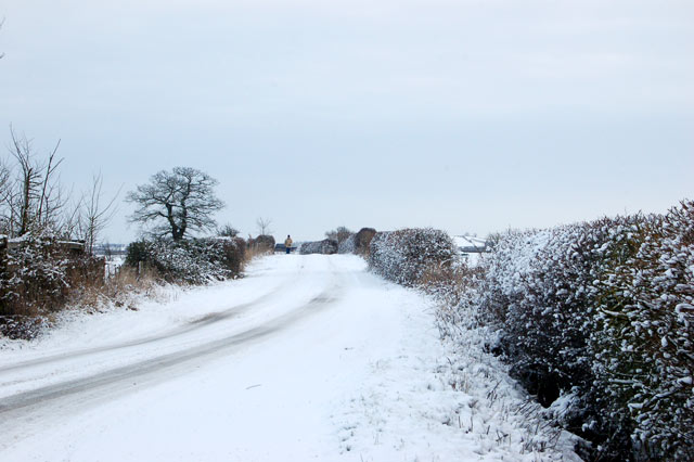 Snow on the lane from Hill to Flecknoe