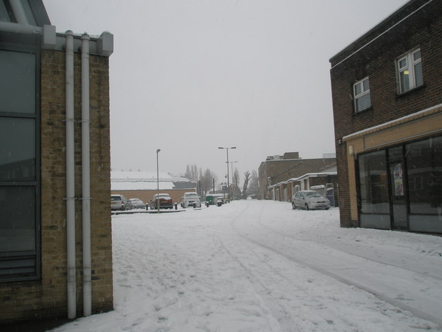 A snowy scene in Basing Road