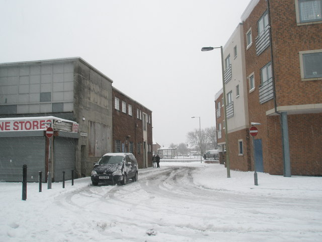 Looking from a snowy Park Parade into Tidworth Road
