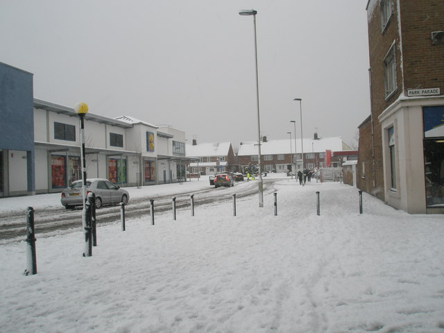 Looking from Park Parade into a snowy Somborne Drive