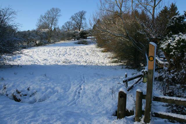 Public footpath through the snow