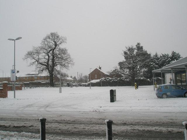 A snowy scene in Lidl's car park in Somborne Drive