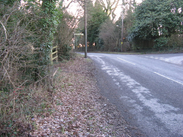 Road junction at the top of Westons Hill