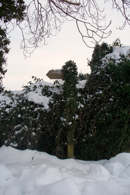 Public Footpath sign in the snow