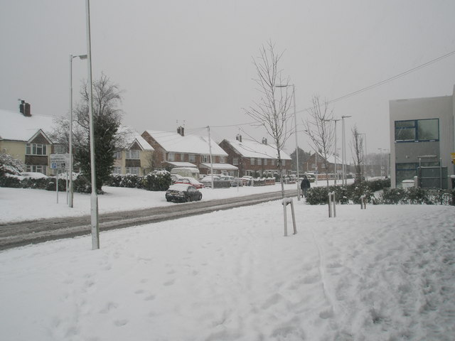 Mid section of a snowy Stockheath Road