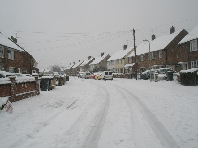 Looking south-east down a snowy Battens Way