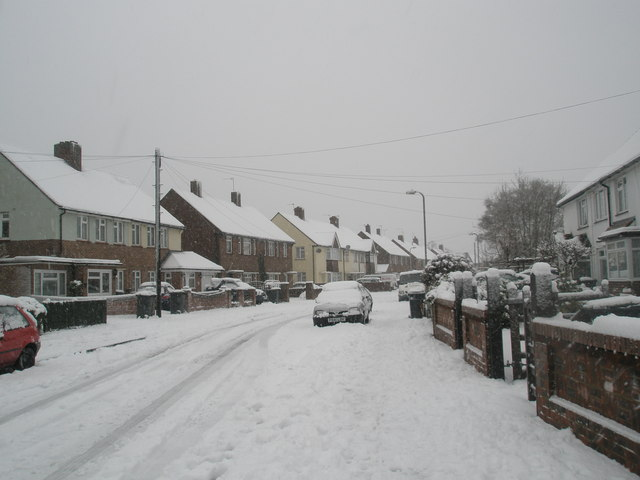 Looking north-west up a snowy Battens Way