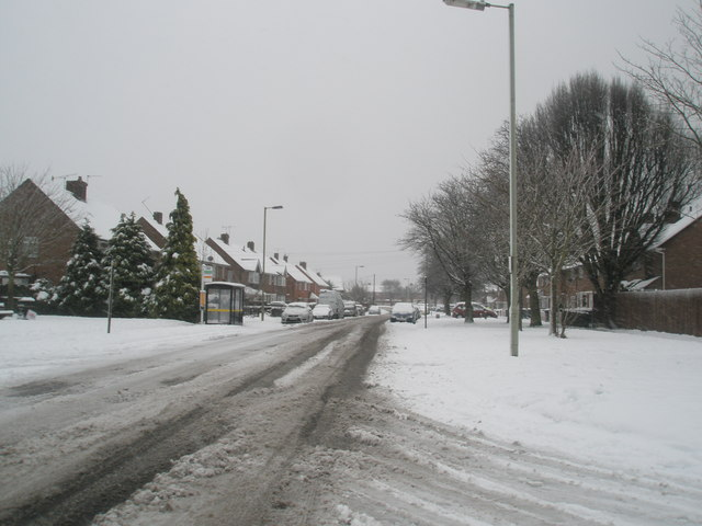 Looking south-east down a snowy Bedhampton Way