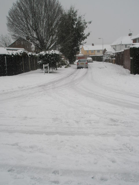 Looking from Catherington Way into a snowy Kingsworthy Road