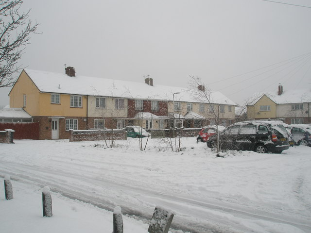 Snow covered homes in Kingsworthy Road