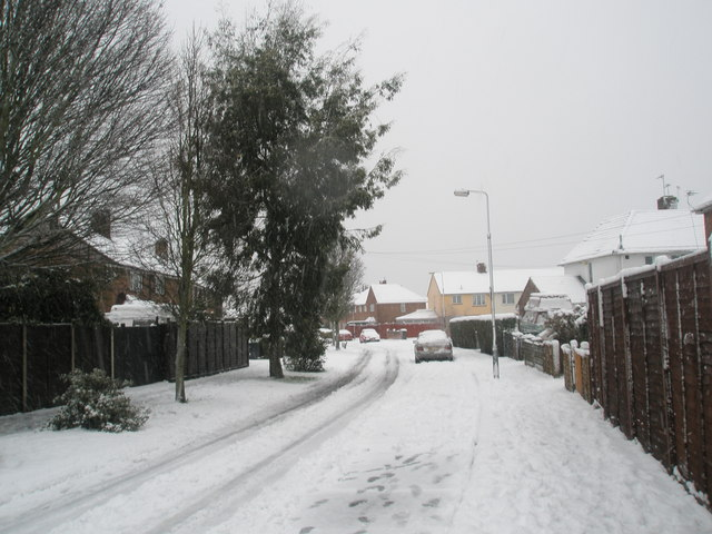 Mid section of a snowy Kingsworthy Road