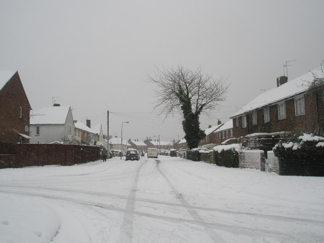 Looking south-east down a snowy Catherington Way
