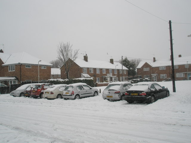 Snow covered houses in Blendworth Crescent