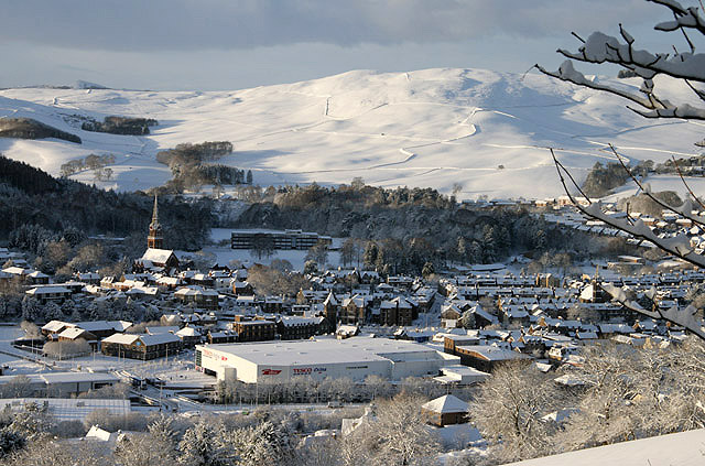 A winter view of Galashiels from Blaikie's Hill